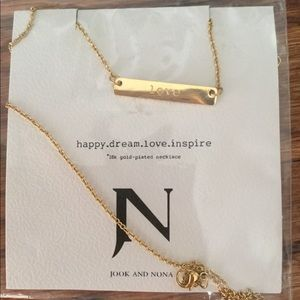 Jook & Nona LOVE Tag Necklace 18k Gold-plated New